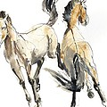 Horsing, 2013 Watercolour And Pigment On Paper by Mark Adlington
