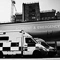 hospital accident and emergency entrance with ambulances London England UK by Joe Fox