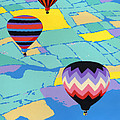 Abstract Hot Air Balloons - Ballooning - Pop Art Nouveau Retro Landscape - 1980s Decorative Stylized by Walt Curlee