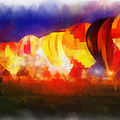 Hot Air Balloons Night Glow Photo Art 01 by Thomas Woolworth