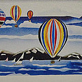 Hot Air Balloons Over Lake Tahoe by Egon Klementi