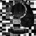 Hour Glass Guitar Random Bw Squares by Andee Design