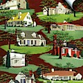 House & Garden Cover Illustration Of 9 Houses by Robert Harrer