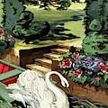 House & Garden Cover Illustration Of A Swan by Joseph B. Platt