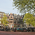 Houses On Singel Canal In Amsterdam by Artur Bogacki