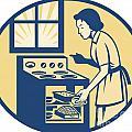 Housewife Baker Baking In Oven Stove Retro by Aloysius Patrimonio