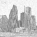 Houston Skyline Abstract by Jeanne A Martin