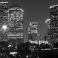 Houston Skyline At Night Black And White Bw by Jon Holiday