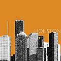 Houston Skyline - Dark Orange by DB Artist