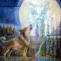 Wolf Howling And Full Moon by Bernadette Krupa