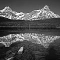 1m3643-bw-howse Peak Mt. Chephren Reflect-bw by Ed  Cooper Photography