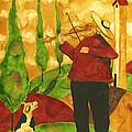 Hubbs Art Folk Prints Whimsical Animal Dogs Pet Music Instrument Fiddler Violin by Debi Hubbs