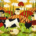 Hubbs Children Art Folk Prints Farm Animals Cow Sheep Goose Chicken Hen Bird by Debi Hubbs