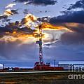 Sunset Over The Oil Rigs by Viktor Birkus