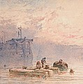 Hulks At Anchor by William Cook of Plymouth