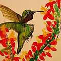 Hummingbird With Red Flowers by Lynn Beazley Blair