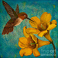 Hummingbird With Yellow Jasmine by Susan Cliett