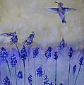 Hummingbirds Among Larkspur by Linda Waidelich