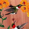 Hummingbirds On Cedar by Debbie LaFrance