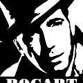 Humphrey Bogart Black And White Pop Art by David G Paul