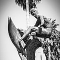 Huntington Beach Surfer Statue Black And White Picture by Paul Velgos