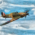 Hurricane Fighter Watercolour by Roy Pedersen