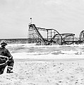 Hurricane Sandy Fireman Black And White by Jessica Cirz