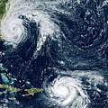 Hurricanes Maria And Jose by Nasa Earth Observatory/joshua Stevens/nasa-noaa Goes/science Photo Library