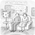 Husband And Wife Discuss Summer Plans On A Couch by Roz Chast