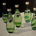 Perrier Bottled Water, Green Bottles, Conceptual Still Life Art Painting Print By Ai P. Nilson by Ai P Nilson