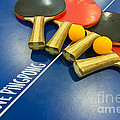 I Love Ping-pong Bats Table Tennis Paddles Rackets On Blue by Beverly Claire Kaiya