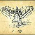 Icarus Flying Machine Patent Drawing-vintage by Aged Pixel