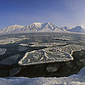 Ice Floes And Mountains Svalbard Norway by Colin Monteath