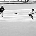 Ice Hockey - Black And White - Nostalgic by Steve Ohlsen