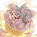 Iced Cup Cake With Sugared Pink Roses by Iris Richardson