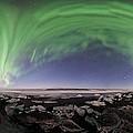 Iceland Aurora Beach Panorama by Mike Berenson