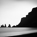 Iceland Coast Reynisdrangar Minimalist Black And White Photo by Matthias Hauser