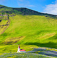 Iceland Mountain Landscape With Church In Vik by Matthias Hauser