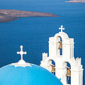 Iconic Blue Cupola Overlooking The Sea Santorini Greece by Matteo Colombo