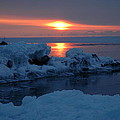 Icy Lake Superior Sunrise by Sandra Updyke