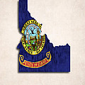 Idaho Map Art With Flag Design by World Art Prints And Designs