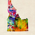 Idaho Watercolor Map by Michael Tompsett