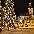 Idylic Winter Cityscape Evening In Snow by Brch Photography