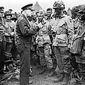 Ike With D-day Paratroopers by Underwood Archives