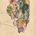Illinois Map Vintage Watercolor by Florian Rodarte