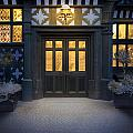 Illuminated Doorway To A Timber Framed Tudor House Or Mansion At by Lee Avison