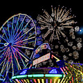Illuminated Ferris Wheel With Neon by Panoramic Images