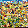 Illustrated Map Of Arizona by Maria Rabinky