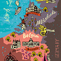 Illustrated Map Of The Netherlands by Daria i