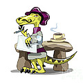Illustration Of A Raptor Poet Thinking by Stocktrek Images